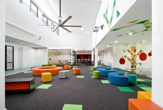 colorful school interior design; color block carpet, wall #interior design office #decoracao de casas #interior design and decoration #interior design