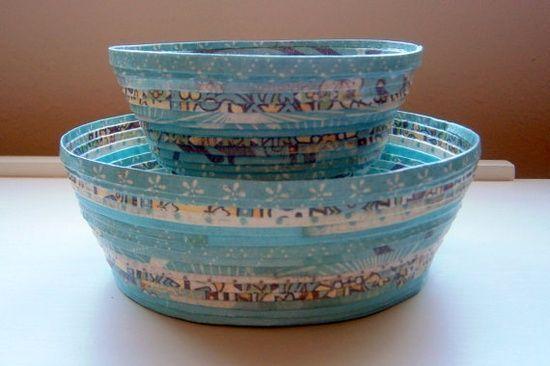 Handmade Paper Basket  Aqua small by BlueTangDesigns on