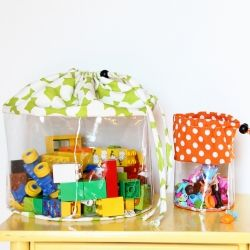 Make some clear toy storage bags to give your kids' toys a place to stay.  (Or make some to organize your make-up, markers, crafts, etc.)