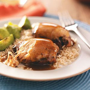 Slow Cooker Teriyaki Chicken Thighs Recipe -- Try something new with chicken and serve up this tasty dinner tonight. #Chicken #SlowCooker
