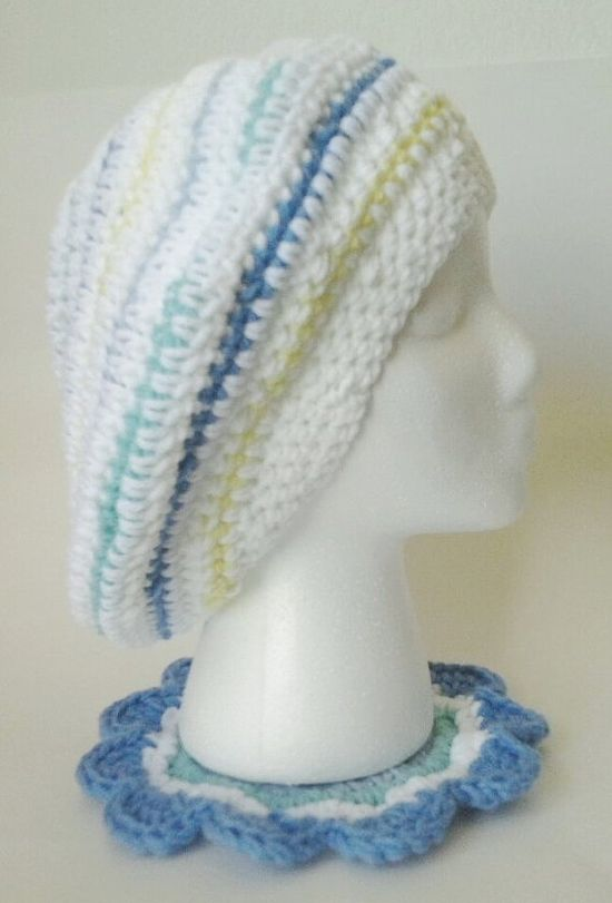 Crochet Oversized White Striped Slouchy Beret/Hat by mamabecca73, $16.95