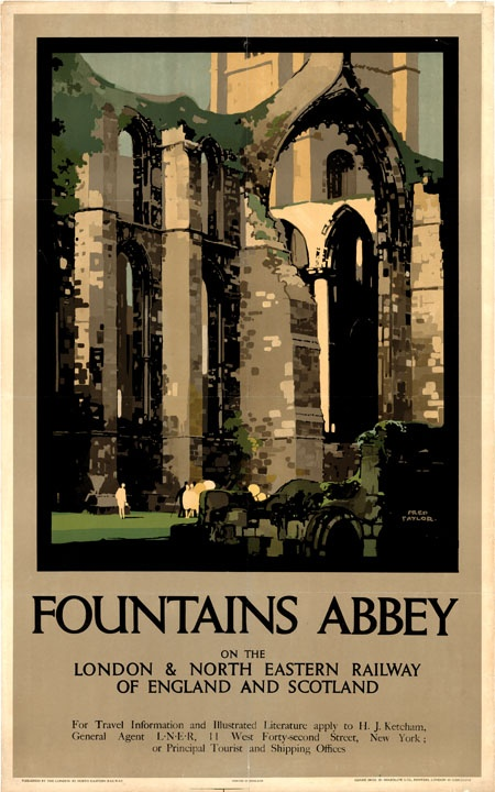 Fountains Abbey #vintage #travel #poster #UK