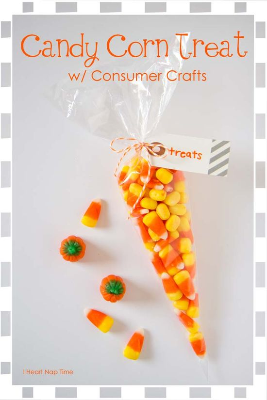 Cute and easy candy corn treat bags on iheartnaptime.net