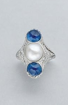 Pearl, Cabochon Sapphire and Diamond Ring   Platinum, one pearl ap. 8.7 x 8.5 mm., 2 sapphires ap. 3.50 cts., c.1915