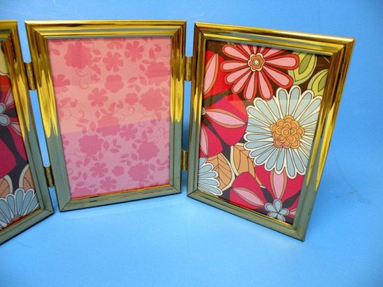 Vintage Tri Fold Gold Picture Metal Frames by UncommonRecycables, $24.00