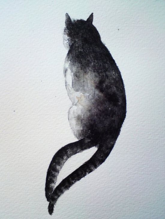 Twotailed cat  original watercolour painting by rachelscabinet