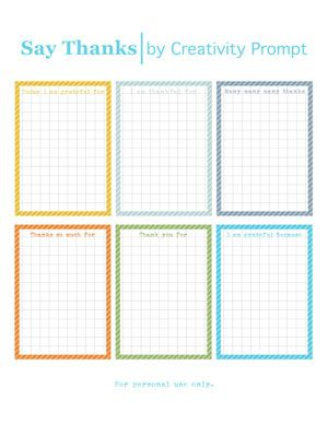 Say Thanks Journaling Cards