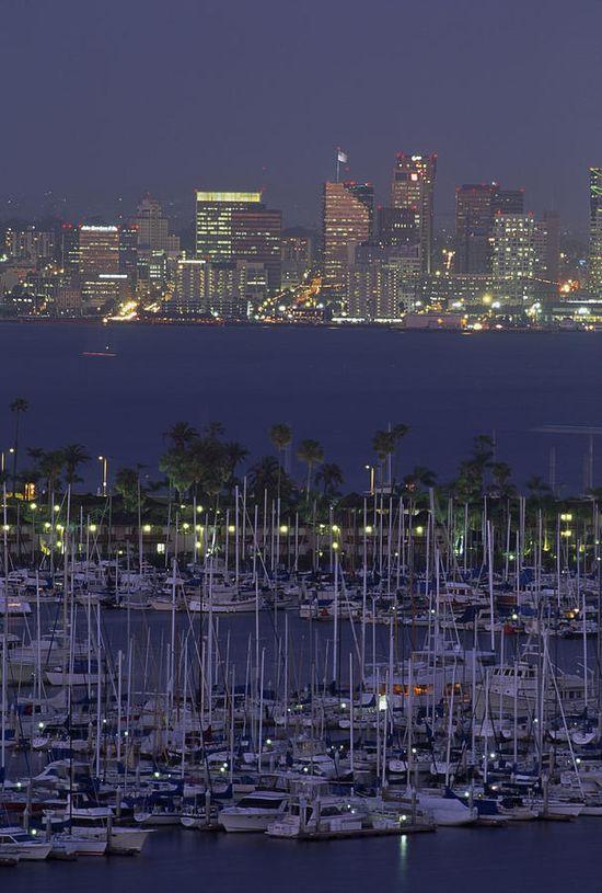* Shelter Island yacht harbor with skyline of San Diego, California