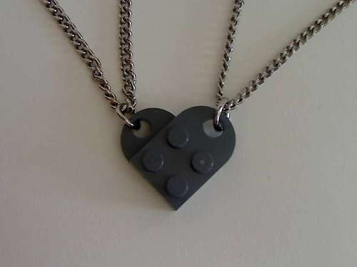 Lego Interlocking Heart Pendants $7 to make, great last minute DIY homemade romantic Valentine's or anniversary gift for cheap, creative handmade gift ideas for kids, classrooms, families, teens, etc.