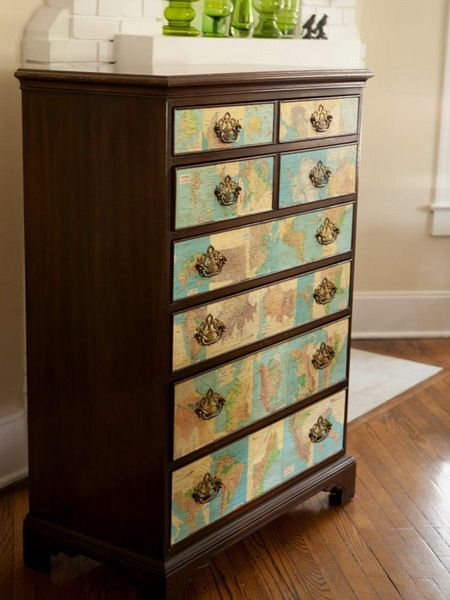 Dresser with map drawers... It would look really good on a cream colored dresser!