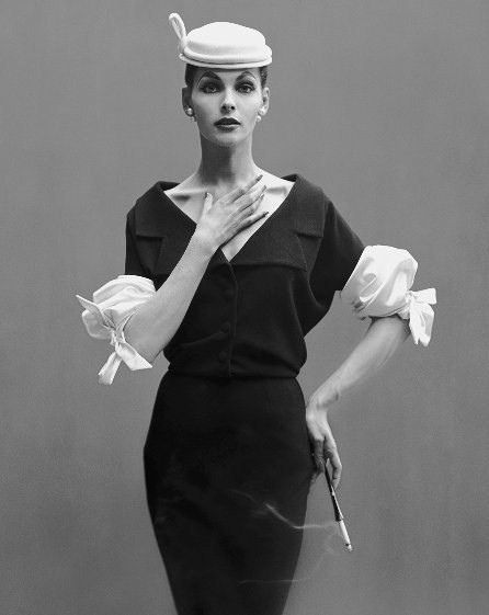 Those amazing sleeves!!! (Georgia Hamilton photographed by Richard Avedon.) #vintage #fashion #clothes #1950s #model #hat #dress