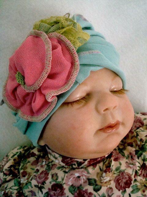 Newborn Baby Headband with Rose Flower  infant hat. $28.00, via Etsy.