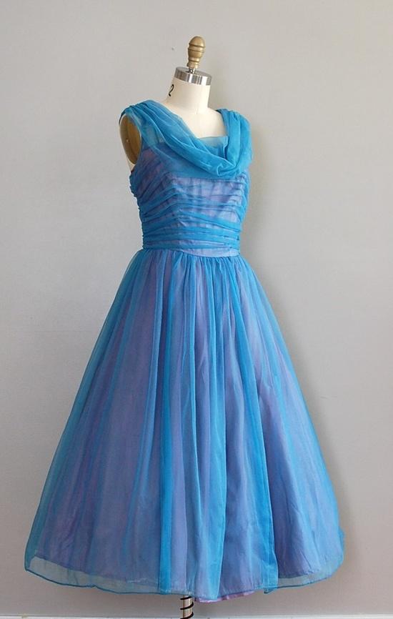 1950s chiffon party dress