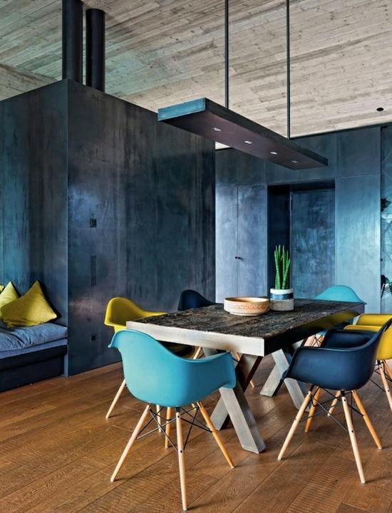 Warm wood floors, grey walls.