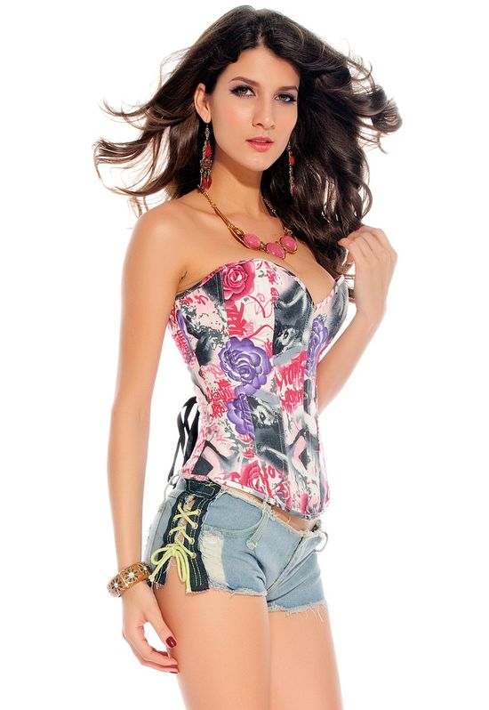 Colorful Rose Cowboy Corset
