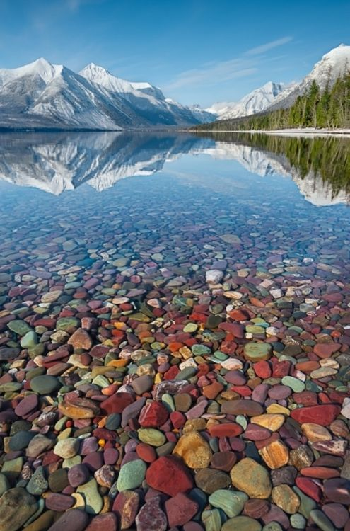 Lake McDonald, Montana.The rocks are really that color. Many of the houses use these for fireplaces, fences, and mailbox stands. Wow--it looks as if the lake goes on and on forever. Those mountains are spectacular.