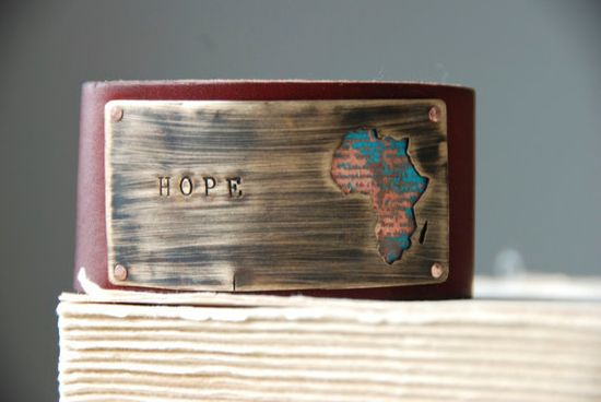 Hope Bracelet Tribal Africa Etched And Patina by steampunkfunk
