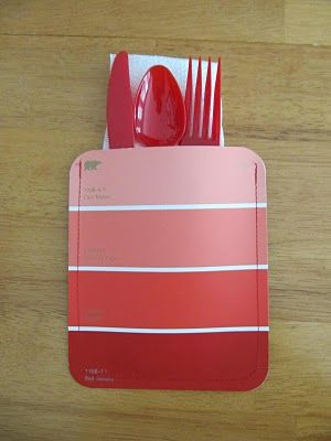 Paint chip cards as cutlery pockets