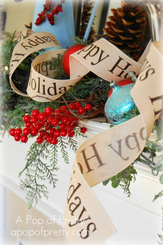 Love the turquoise and red color scheme for a rustic Christmas look