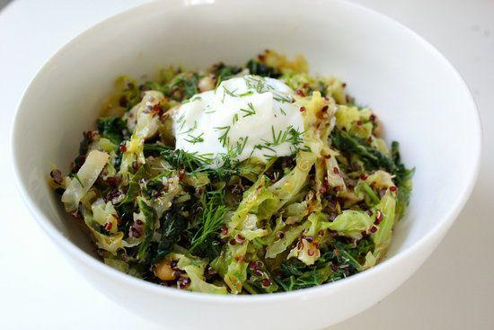 lemony toasted quinoa and cabbage salad.