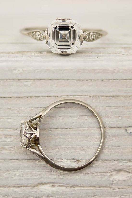 Asscher Cut Diamond Engagement Ring by Tiffany and Co #artdeco