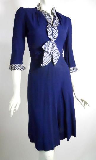 Late 1930s blue dress with checked taffeta ruffles