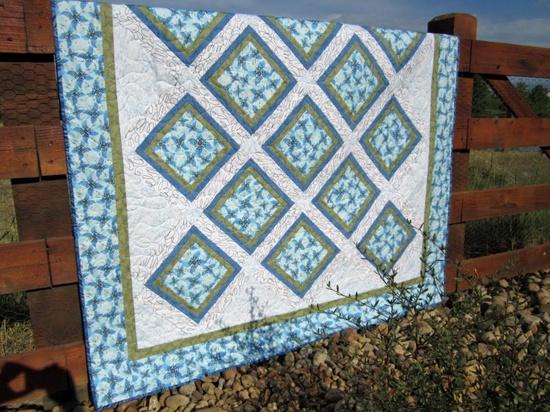 Handmade Quilt Blue Floral