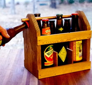 this is amazing. a six pack carrier with built in bottle opener!? - possible DIY? $42 via uncovet