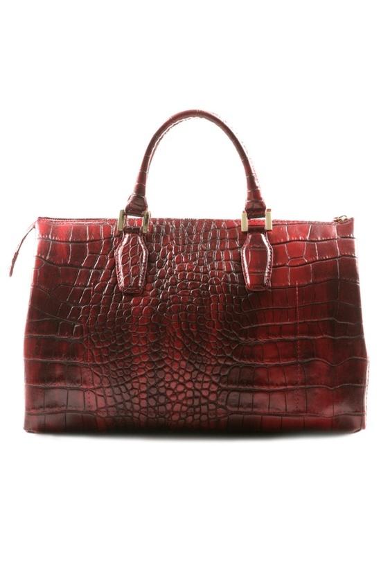 Embossed Burgundy Handbag