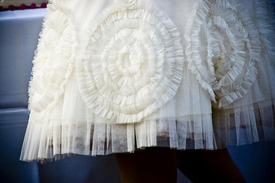 Wedding dress details, really pretty hem