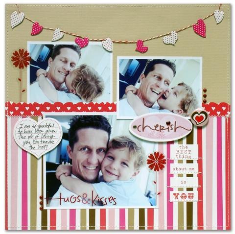 Valentine Cherish scrapbook layout