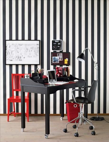 Colorful Home Office Design - Black and White pinstripe wallpaper #wallpaper #home #office #interiors