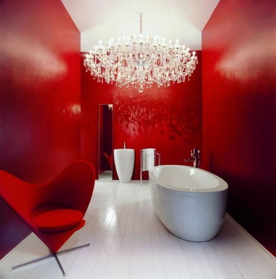 antique red and white bathroom interior design ideas