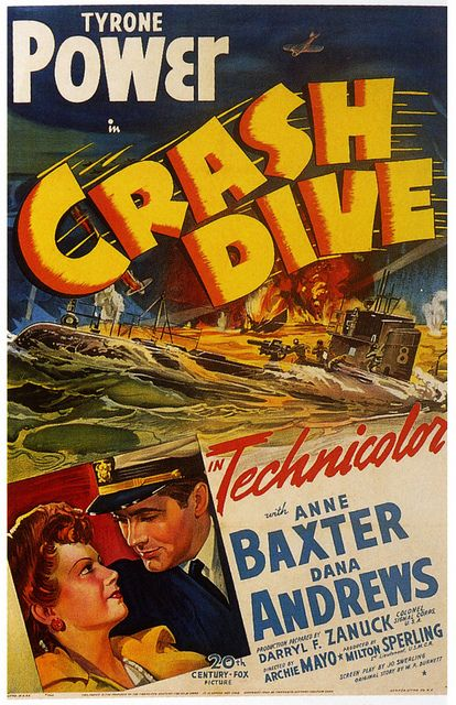 Tyrone Power in Crash Dive, 1943.  #vintage #movies #posters #1940s