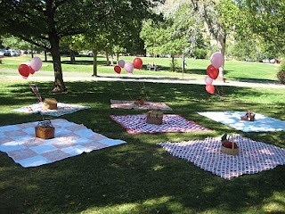 Set up picnic blankets for a picnic party... Cute!