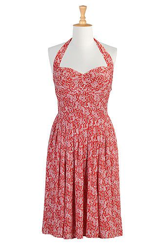 #eshakti #printed #halterneck #dresses #fifties #feminine #spring #summer I love this! Now on wish list.  I get more compliments on my eshakti clothing items than anything.