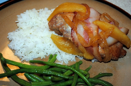 Bacon Wrapped Pork and apples