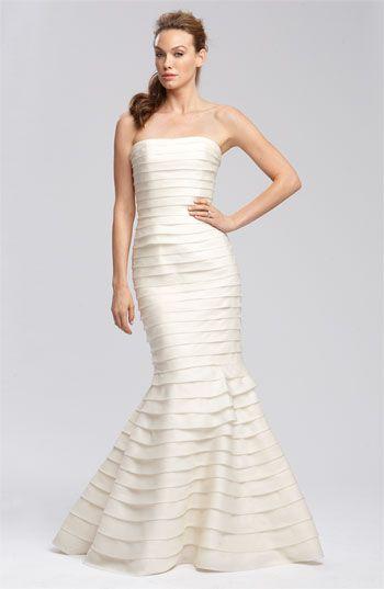 Carmen Marc Valvo Satin Face Tiered Organza Gown #wedding