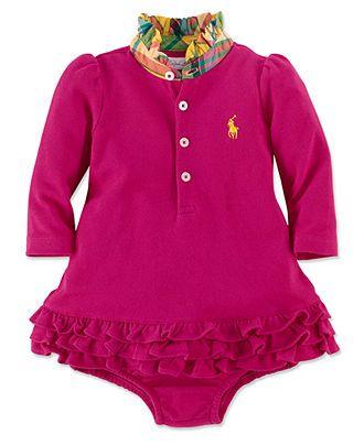 Ralph Lauren Baby Girls Dress, Baby Girls Long-Sleeve Mesh Cupcake Dress - Kids Baby Girl (0-24 months) - Macy's