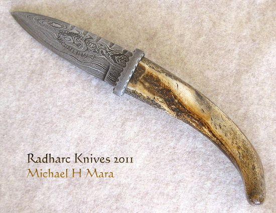Custom Handmade Knives - Damascus Bone Sgian Dubh