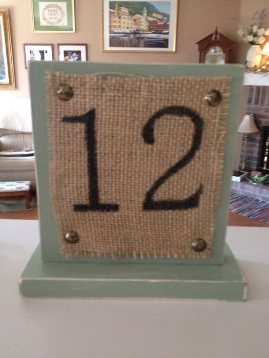Hand made table numbers