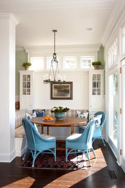 turquoise wicker. breakfast nook