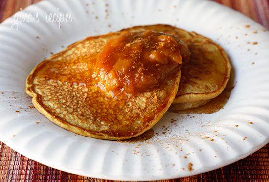 Pumpkin Spice Pancakes with Pumpkin Butter - Low fat, high in fiber and just plain good or you!  #pumpkin