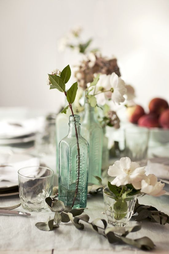Simple Beauty #flowers #glass #jars #bottle #dinner #table #place #setting #centerpiece