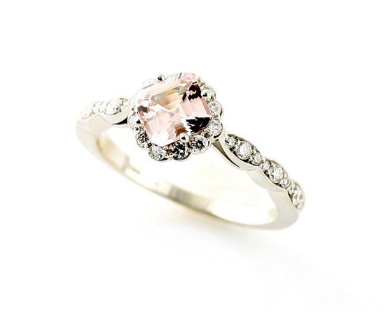 14K Asscher Morganite Diamond Wedding Set Engagement Ring & Band Custom Bridal Jewelry. $1,200.00, via Etsy.