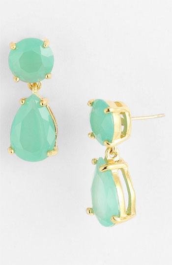 mint + gold drop earrings / kate spade