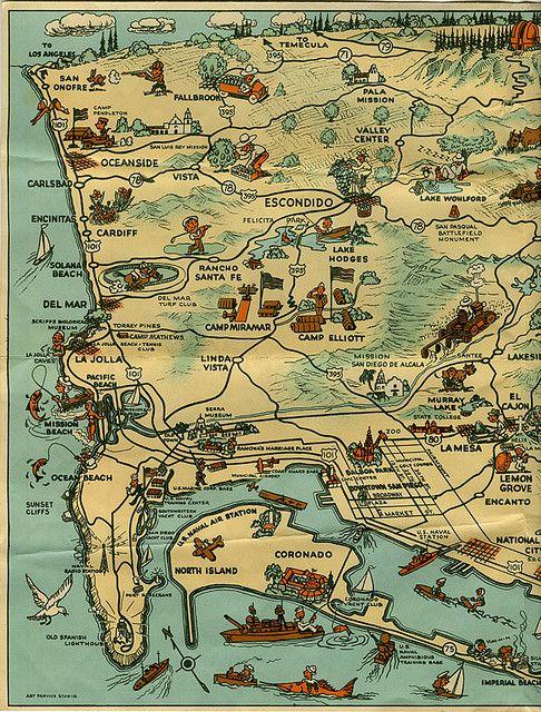 Vintage map of San Diego
