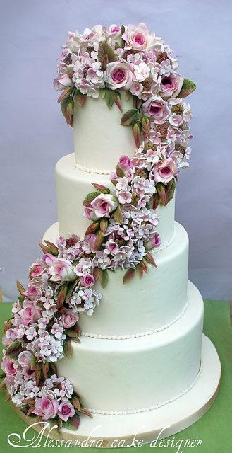 Wedding cake roses and hydrangeas. by Alessandra Cake Designer, via Flickr