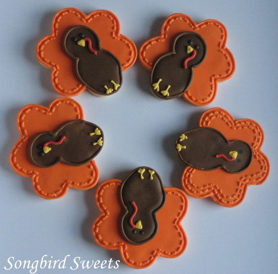 Thanksgiving Turkeys!  made using a flower cookie cutter:-)