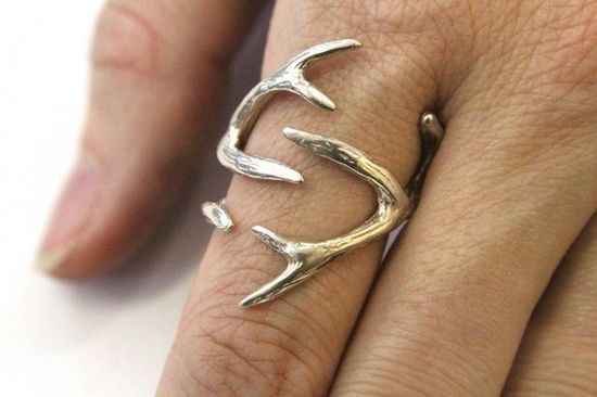 $98.00 Sterling Silver Whitetail Deer Antler Ring - Moon Raven Designs